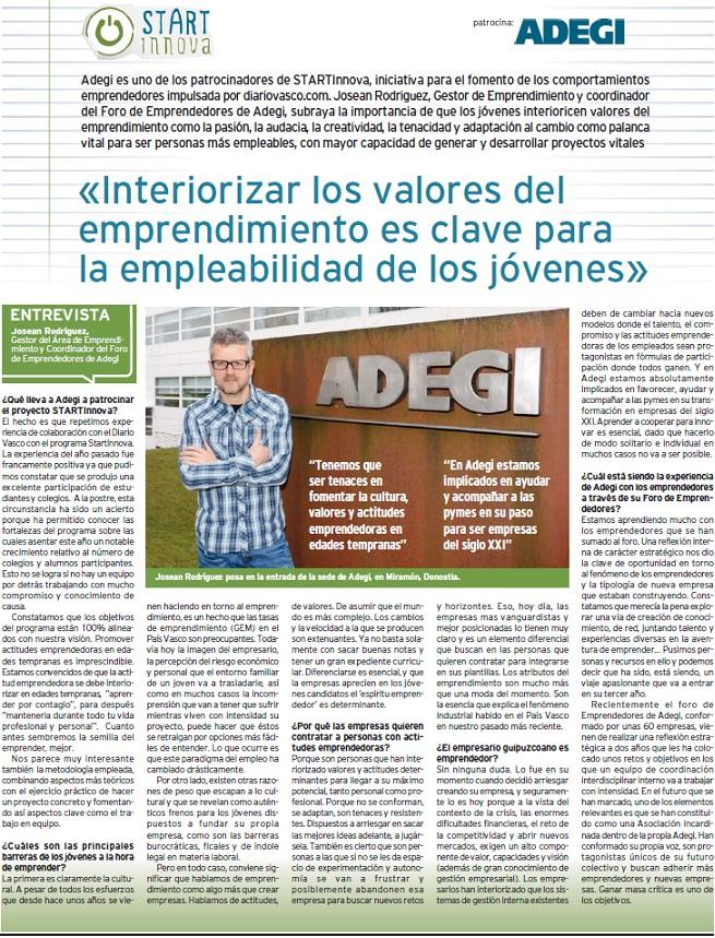 Entrevista en D.V.: «Interiorizar los valores del emprendimiento es clave para la empleabilidad de los jóvenes»