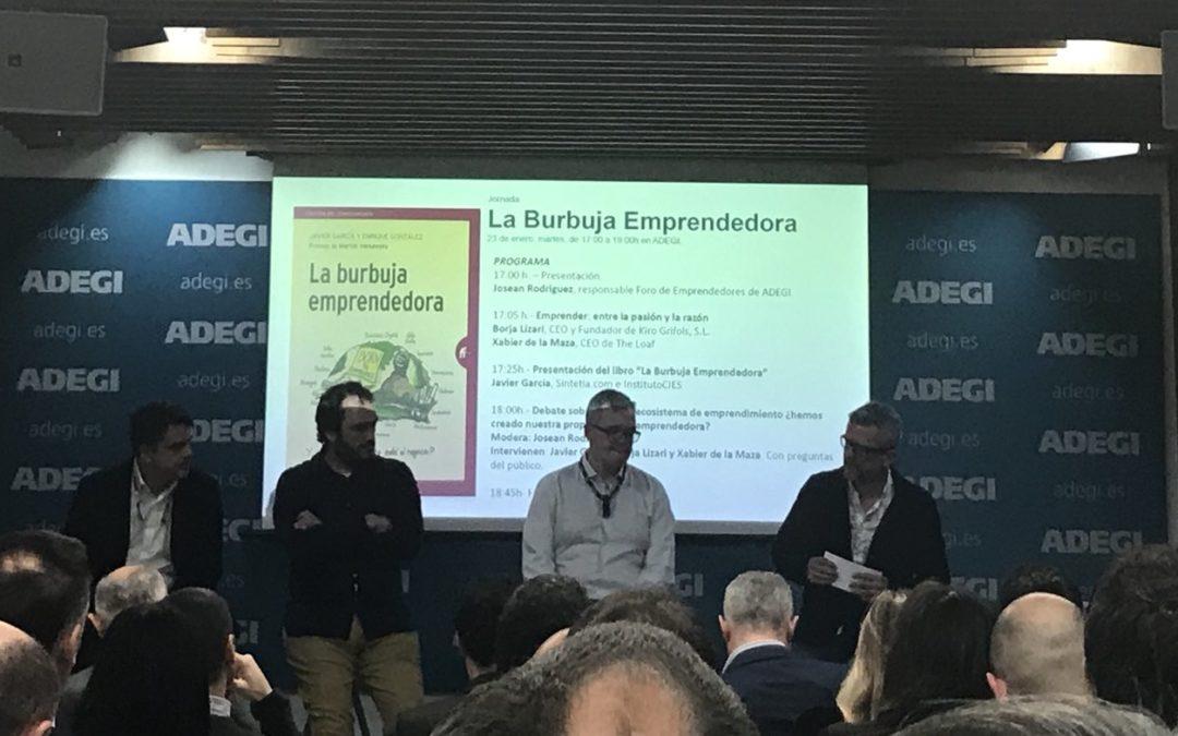 Presentación en Adegi del libro: La burbuja emprendedora